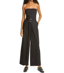 women's frame linen blend strapless belted jumpsuit