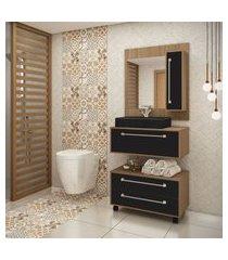 gabinete para banheiro castanho argel e preto lilies móveis