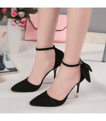 ps376 cutie pointy strappy ankle pump w bowtie end us size 4-8.5, black
