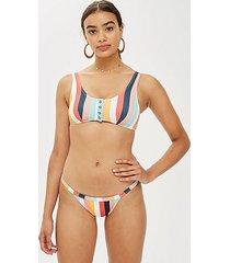 stripe ribbed high bikini bottoms - multi