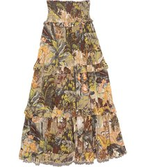 leandra shirred waist skirt in khaki