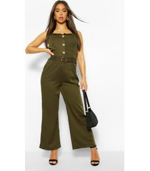 button through strappy belted wide leg jumpsuit, khaki