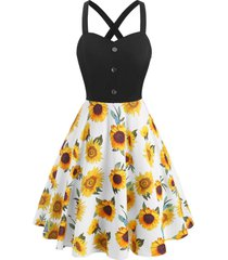 sunflower print criss cross mock button dress
