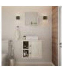 conjunto para banheiro gabinete com cuba q32 e espelheira soft 500 snow