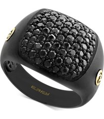 effy men's black sapphire ring (2 ct. t.w.) in black rhodium-plated sterling silver & 18k gold