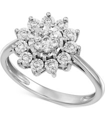 diamond flower cluster ring (1/4 ct. t.w.) in sterling silver