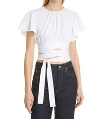 cinq a sept christie stretch cotton crop top, size small in white at nordstrom