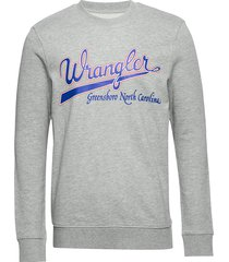 logo sweat mid grey mel sweat-shirt trui grijs wrangler