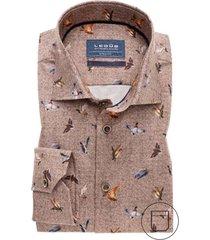 ledub overhemd mouwlengte 7 bruin modern fit