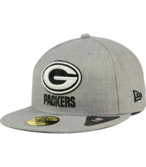 new era green bay packers heather black white 59fifty fitted cap