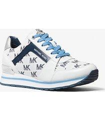mk sneaker billie in pelle e logo jacquard - bianco ottico cangiante (bianco) - michael kors