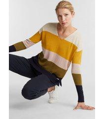 sweater cuello en v algodón ecológico amarillo esprit