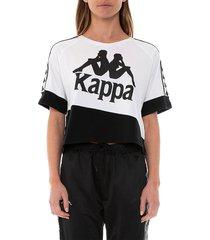 kappa women's two-toned logo t-shirt - melon white - size xs