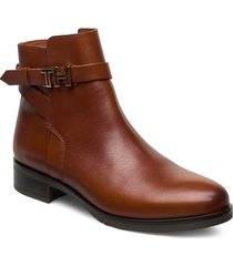 th hardware leather flat boot shoes boots ankle boots ankle boots flat heel brun tommy hilfiger