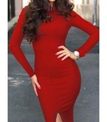 cuello redondo recorte mangas largas mini vestido