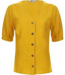 blusa unicolor escote en v color amarillo, talla 10