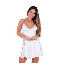 camisola vip lingerie em microfibra e renda branco