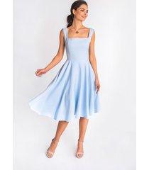 sukienka sofia - błękitna midi rozkloszowana