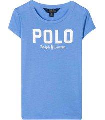 ralph lauren blue polo shirt with white press