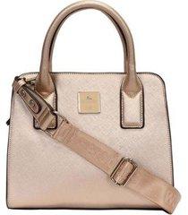 bolsa satchel grande estruturada monocolor wj feminina - feminino