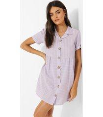 gestreepte gesmokte blouse jurk met knopen, lilac