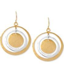 robert lee morris soho earrings, two-tone hammered circle orbital earrings