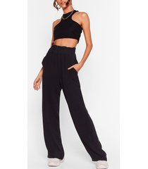 womens add to paperbag wide-leg pants - black
