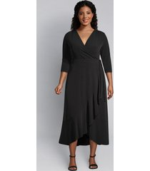 lane bryant women's faux-wrap dress 14/16 black