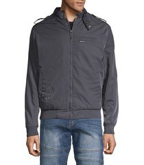 members only men's logo raglan-sleeve jacket - burgundy - size l