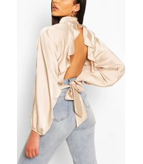 satijnen blouse met open achterkant en ruches, champagne