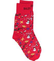 balenciaga christmas-print knitted socks - red