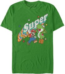 nintendo men's super mario super friends mario yoshi short sleeve t-shirt
