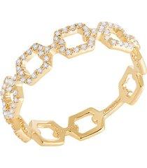 14k yellow gold diamond cutout ring