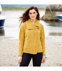 ladies one button aran cardigan yellow xs