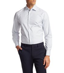 giorgio armani men's check dress shirt - periwinkle - size 16.5 42