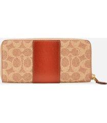 coach women's colorblock slim accordion zip wallet - tan rust