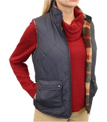 mountain and isles women's diamond quilted reversible vest to plaid sherpa