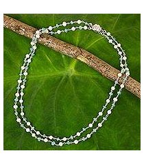 cultured pearl and apatite strand necklace, 'regal water lily' (thailand)