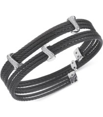 charriol white topaz twist cable wrap bracelet (1/3 ct. t.w.) in stainless steel black pvd