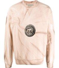 paura embroidered distressed-print sweatshirt - neutrals