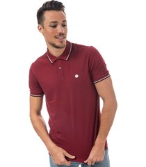 pretty green mens tipped pique polo shirt size xs in red