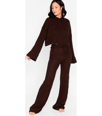 womens take the easy option hoodie and pants lounge set - chocolate