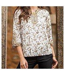 cotton tunic, 'floral garden' (india)