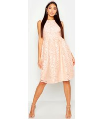 boutique embroidered skater bridesmaid dress, blush