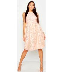 boutique geborduurde bruidsmeisjes skater jurk, blush