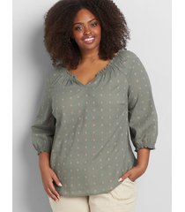 lane bryant women's shirred notch-neck embroidered top 12 dried sage