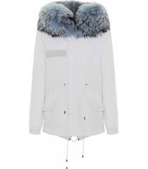 jazzy mini parka for woman with raccoon fur