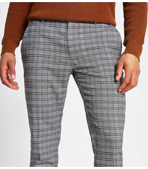 river island mens grey check super skinny trousers