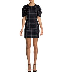 aria ruched-sleeve grid-print dress