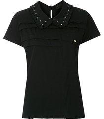 andrea bogosian spread collar t-shirt - black